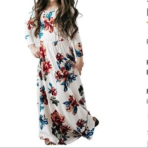 Other - Girls Maxi Dress, Floral Three-Quarter Sleeve